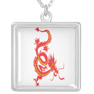 Red Dragon/Chinese New Year Square Pendant Necklace