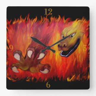 Red Dragon Claw Square Wall Clock