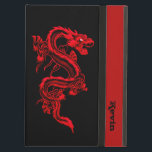 """Red Dragon Custom iPad Air Case<br><div class=""""desc"""">Custom iPad Air case,  with built in stand,  done in black,  with graphics of a red Chinese style dragon,  on the front and back.  A red band,  down the front right edge of the case,  has custom black text ready to personalize for yourself or as a great gift idea.</div>"""
