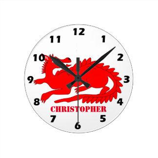Red Dragon Customized Round Clock