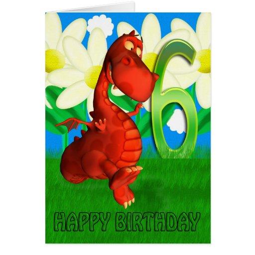 Red dragon dancing in the Garden Birthday Card
