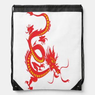 Red Dragon Drawstring Backpack