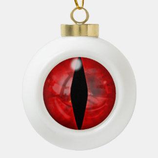 Red Dragon Eye Ceramic Ball Christmas Ornament