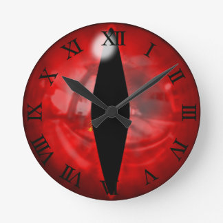 Red Dragon Eye Round Clock