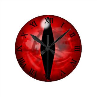 Red Dragon Eye Round Clock
