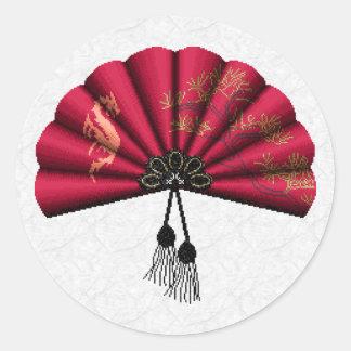 Red Dragon Fan Pixel Art Classic Round Sticker