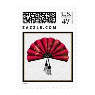 Red Dragon Fan Pixel Art Postage