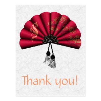 Red Dragon Fan Pixel Art Post Card