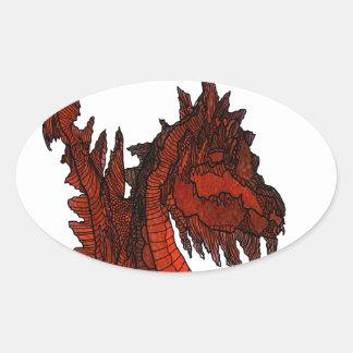 Red Dragon Fantasy Pop Art Customizable Oval Sticker