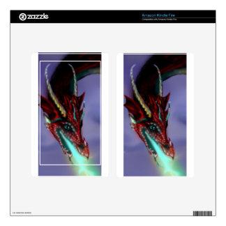 Red Dragon Fire Flames Magic Cute Crimson Kindle Fire Decals