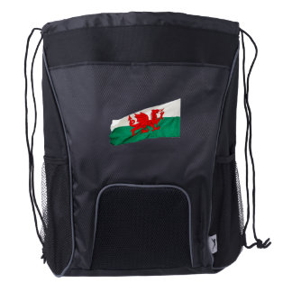 Red Dragon Flag of Wales Patriotic Flag Drawstring Backpack