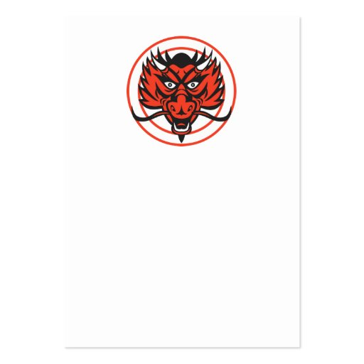 Red Dragon Head Circle Business Card Template