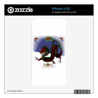 Red Dragon Holidays Decal For The iPhone 4S
