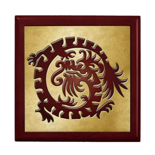 Red Dragon Icon on Gold - 1 Gift Box