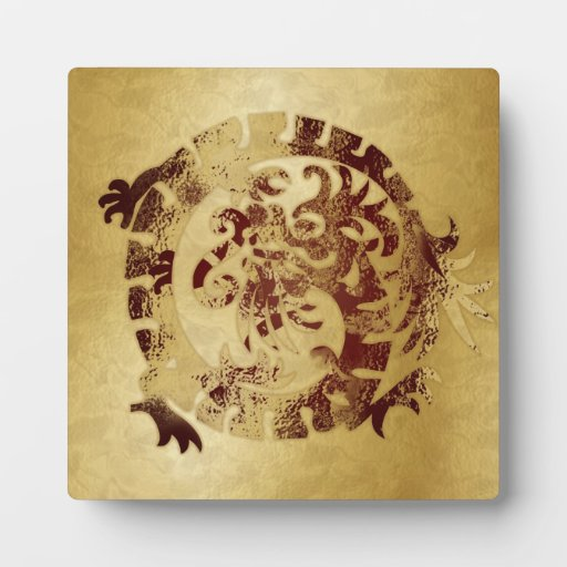 Red Dragon Icon on Gold - 1 - Plaque