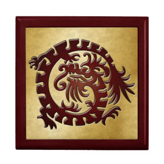 Red Dragon Icon on Gold - 1 Trinket Boxes