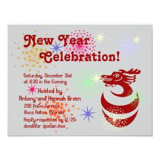 Red Dragon in Egg Fireworks Custom RSVP Invitation