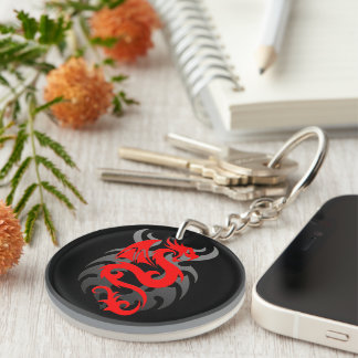 Red Dragon Double-Sided Round Acrylic Keychain