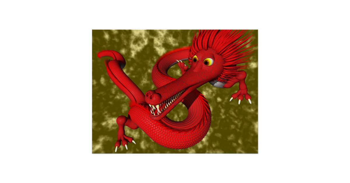 red dragon large size poster zazzle