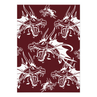 Red Dragon Mythical Creature Cool Fantasy Design Invitations