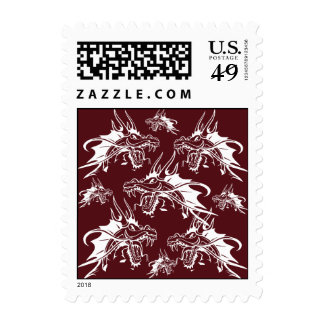 Red Dragon Mythical Creature Cool Fantasy Design Postage Stamps