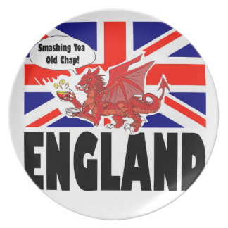 Red Dragon of Britain in Tea Time Dinner Plate