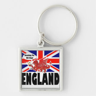Red Dragon of Wales at Tea Time Silver-Colored Square Keychain