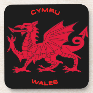 Red Dragon of Wales (Cymru), Black Back Drink Coaster