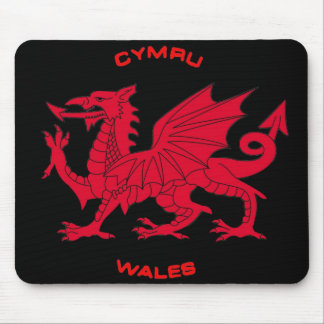 Red Dragon of Wales (Cymru), Black Back Mouse Pad
