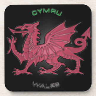 Red Dragon of Wales (Cymru),Black,Grey,Pastel Beverage Coaster