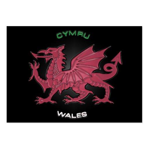 Red Dragon of Wales (Cymru),Black,Grey,Pastel Business Card Template