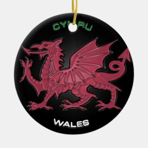 Red Dragon of Wales (Cymru),Black,Grey,Pastel Double-Sided Ceramic Round Christmas Ornament