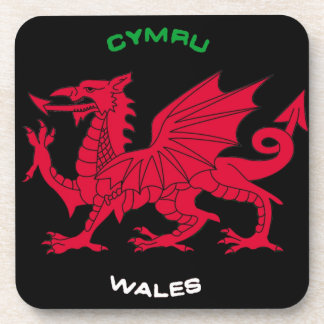 Red Dragon of Wales (Cymru),Black, White,Green Coaster