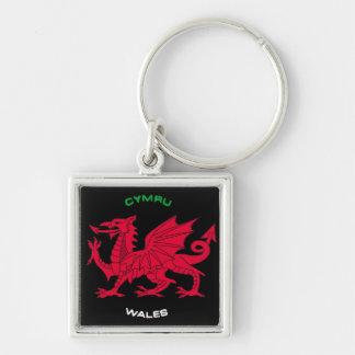 Red Dragon of Wales (Cymru),Black, White,Green Keychain