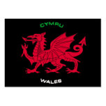 Red Dragon of Wales (Cymru),Black, White,Green Large Business Card