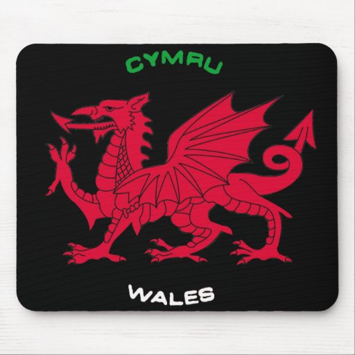 Red Dragon of Wales (Cymru),Black, White,Green Mouse Pads