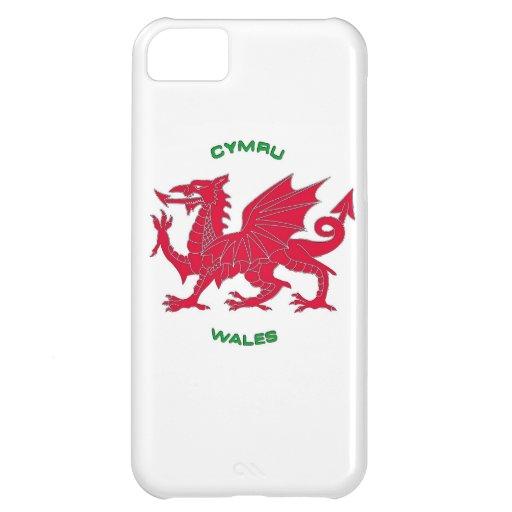 Red Dragon of Wales (Cymru), White Back iPhone 5C Covers