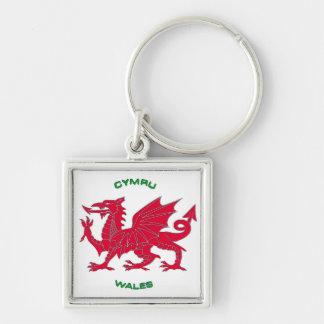 Red Dragon of Wales (Cymru), White Back Keychain