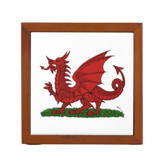 Red Dragon of Wales Desk Organizer