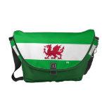 Red Dragon of Wales on White Green Flag Rickshaw Messenger Bag at Zazzle