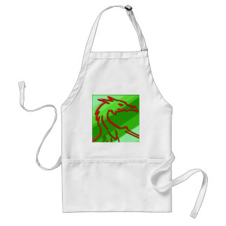 red dragon on green stripes adult apron