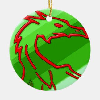red dragon on green stripes ceramic ornament