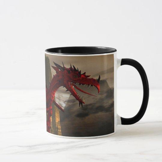 Red Dragon On Mountain Mug