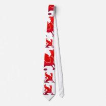red Dragon print necktie