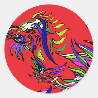 Red Dragon - Ribbon Series - Dragon Classic Round Sticker