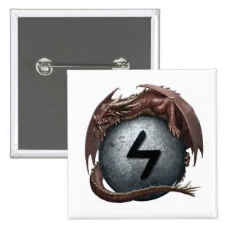 Red Dragon Rune Button - Sowilo