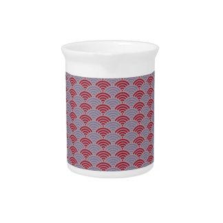 Red Dragon Scale Vintage Kimono Pattern Beverage Pitcher