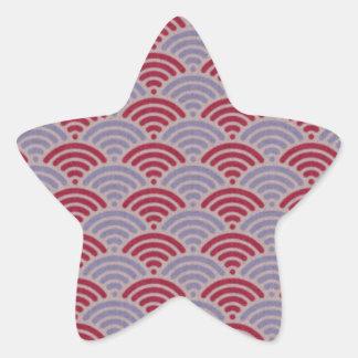 Red Dragon Scale Vintage Kimono Pattern Star Sticker