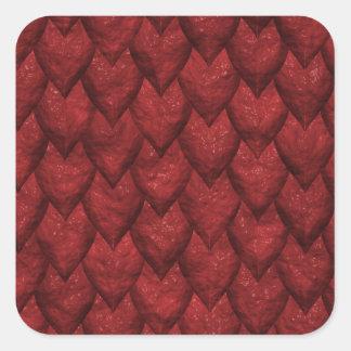Red Dragon Scales Square Sticker
