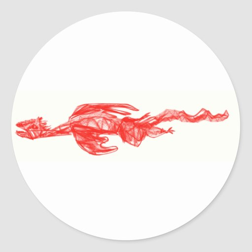 Red dragon scribble drawing classic round sticker